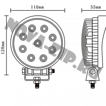 светодиодные-фары-люстры-линейки-SFKR-927-(-HML-0727-30-градусов-)-размеры-и-схема-подключения