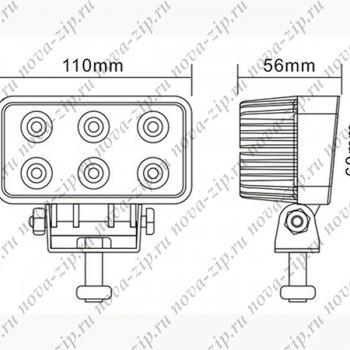 светодиодные-фары-SFM-6-18—(HML-1518-Угол-Свечения-30-60)-размеры-и-схема-подключения