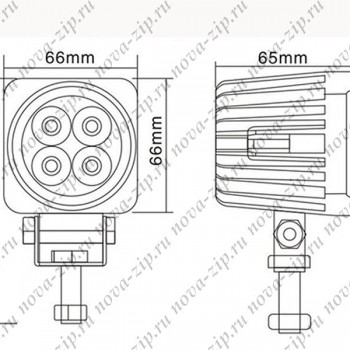 светодиодные-фары-SFS-4-12-(HML-1410-угол-свечения-60-градусов)-схема-подключения-и-размеры